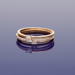 Set of Three Rose Gold and Diamond Rings
