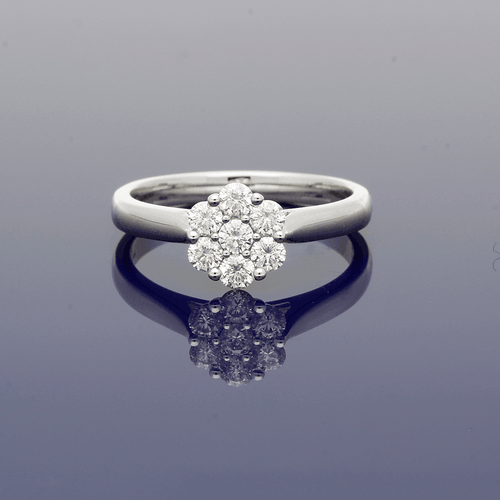 18ct White Gold and Diamond Daisy Cluster Ring