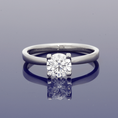 Platinum 0.90ct Certificated Round Brilliant Cut Diamond Solitaire Ring