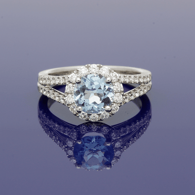 18ct White Gold Aquamarine & Diamond Halo Ring with Diamond Set Shoulders