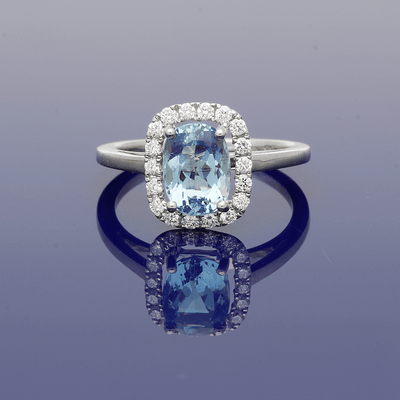 18ct White Gold Aquamarine and Diamond Halo Cluster Ring