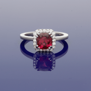 18ct White Gold and Tourmaline Rubellite Halo Ring