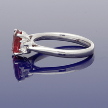 9ct White Gold Rubellite & Diamond Trilogy Ring