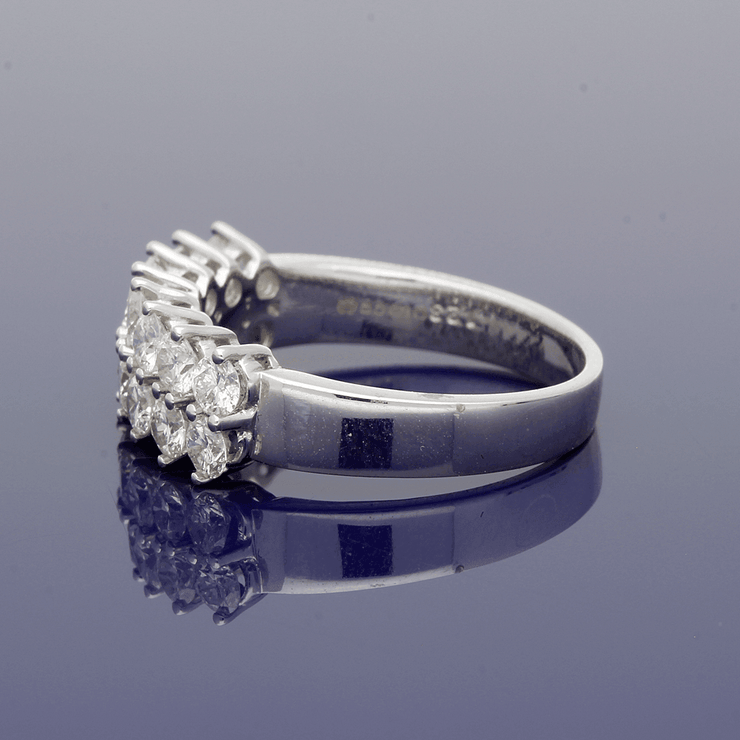 18ct White Gold Diamond Double Row Eternity Style Ring