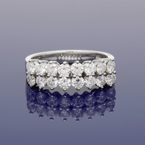 18ct White Gold & Diamond Double Row Eternity Style Ring