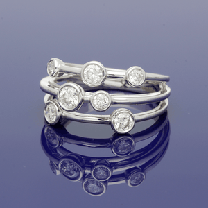 18ct White Gold and Diamond Triple Row Dress Ring