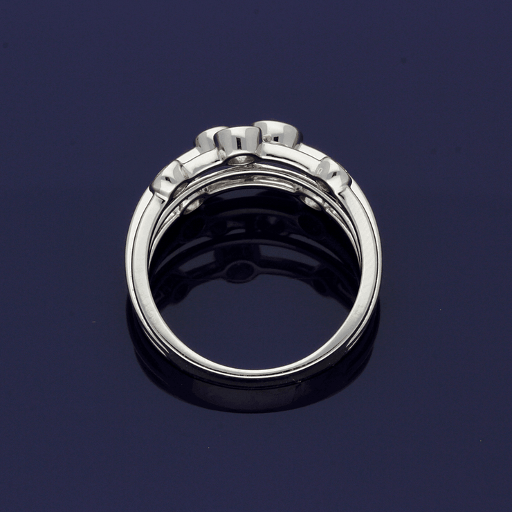 18ct White Gold Diamond Triple Row Dress Ring