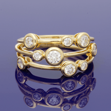 18ct Yellow Gold and Diamond Triple Row Dress Ring