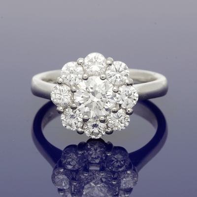 Platinum Certificated Diamond Daisy Cluster Ring