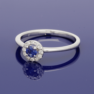 18ct White Gold Sapphire and Diamond Halo Ring