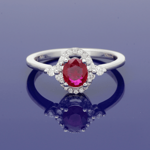 18ct White Gold Ruby and Diamond Halo Ring