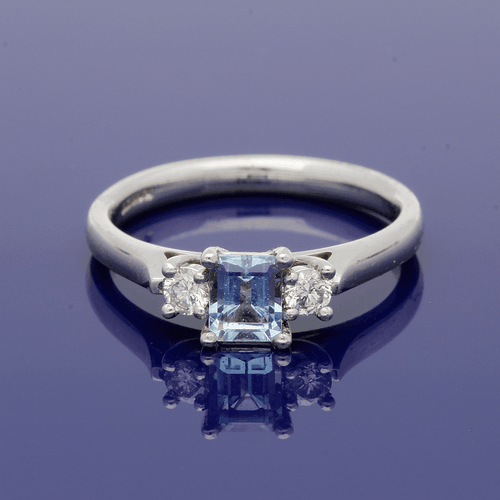18ct White Gold Aquamarine and Diamond Trilogy Ring
