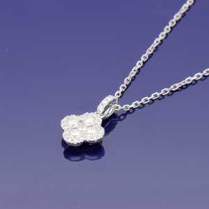 18ct White Gold and Diamond Clover Design Necklace