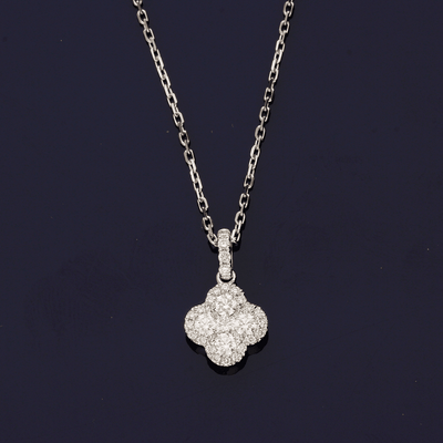 18ct White Gold Diamond Clover Design Necklace