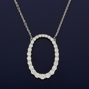18ct White Gold and Diamond Oval Necklace
