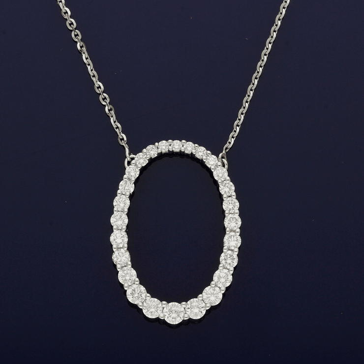 18ct White Gold Diamond Oval Necklace