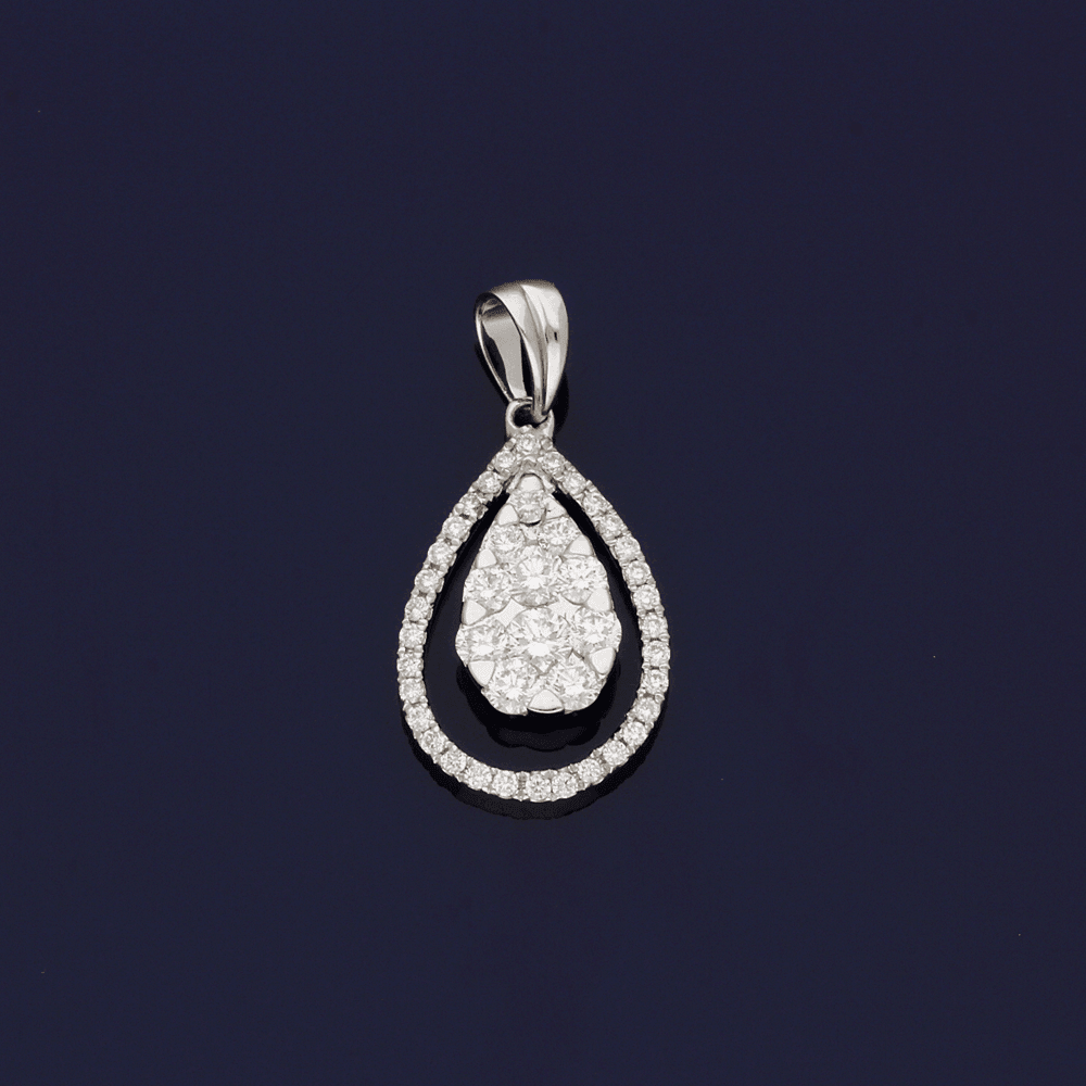 18ct White Gold and Diamond Pear Shape Pendant
