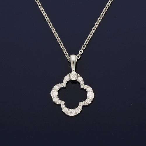 18ct White Gold and Diamond Clover Design Pendant
