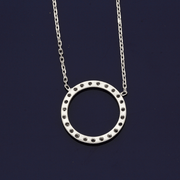 18ct White Gold Diamond Circular Necklace