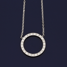 18ct White Gold and Diamond Circular Necklace