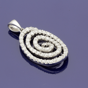 18ct White Gold and Diamond Spiral Pendant