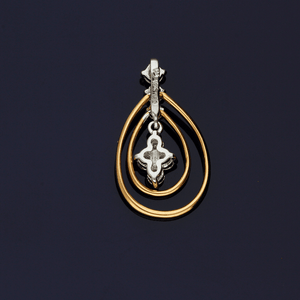 18ct Rose and White Gold Diamond Drop Pendant