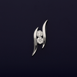 18ct White Gold and Diamond Abstract Pendant