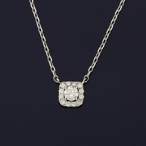 18ct White Gold and Diamond Square Necklace