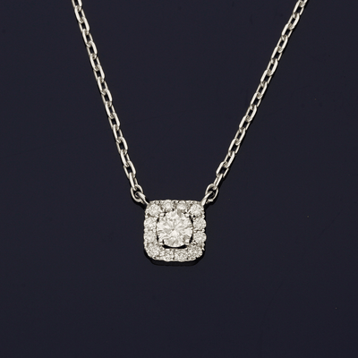 18ct White Gold Diamond Square Cluster Necklace