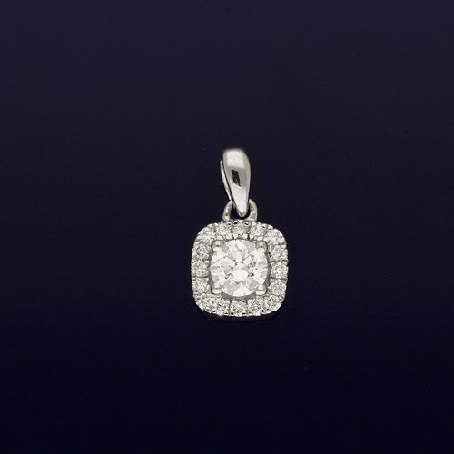 18ct White Gold and Diamond Halo Pendant