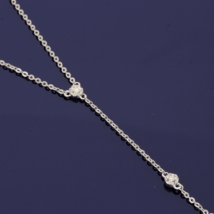 9ct White Gold Diamond Drop Necklace