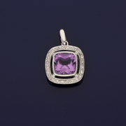 9ct White Gold Amethyst and Diamond Pendant
