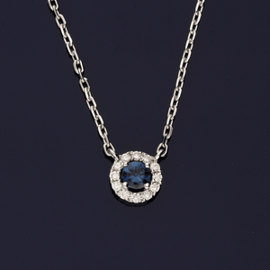 18ct White Gold Diamond and Sapphire Necklace
