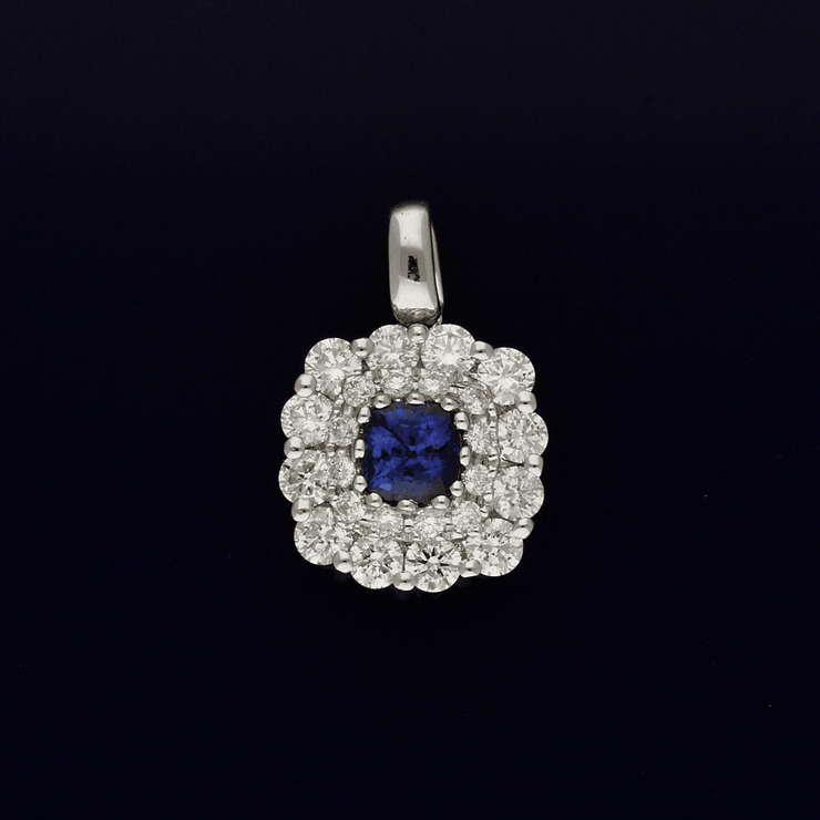 18ct White Gold Sapphire and Diamond Cluster Pendant