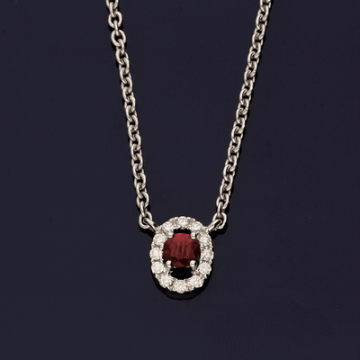 18ct White Gold Ruby and Diamond Necklace