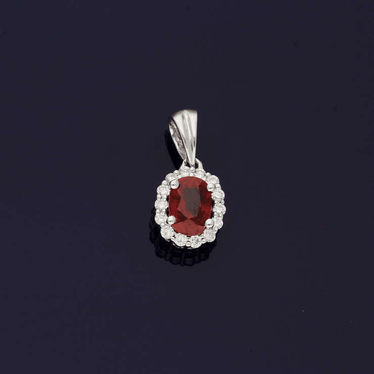 18ct White Gold Ruby and Diamond Dainty Oval Cluster Pendant