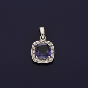 9ct White Gold Iolite and Diamond Pendant