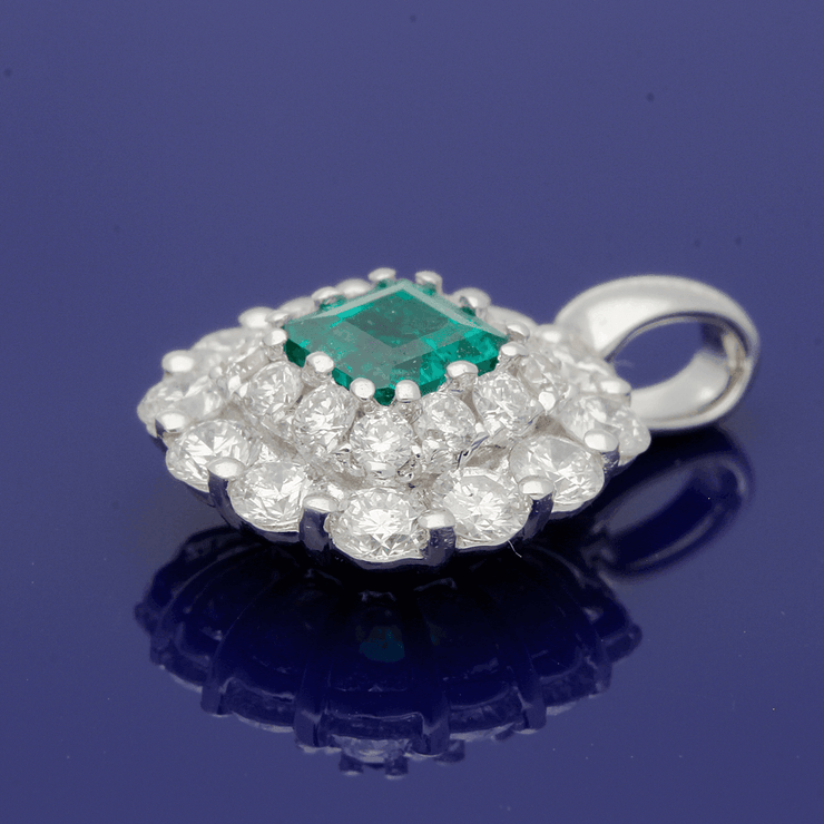 18ct White Gold Emerald and Diamond Pendant