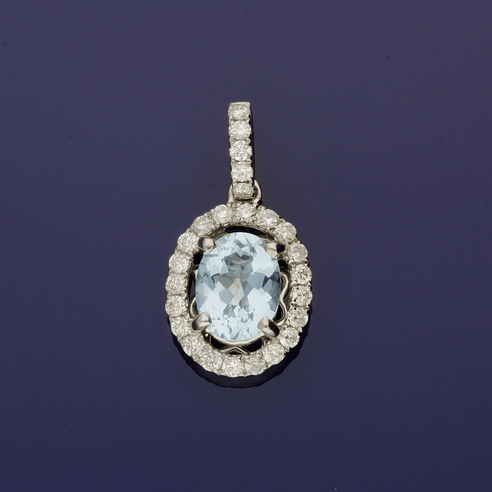 18ct White Gold Aquamarine and Diamond Cluster Pendant