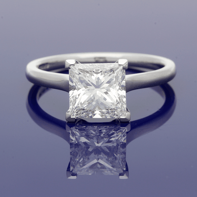 Platinum Certificated 2.05ct Princess Cut Diamond Solitaire Engagement Ring