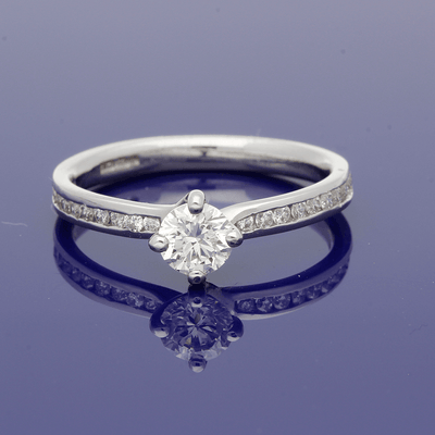 Platinum Certificated 0.39ct Diamond Solitaire Ring with Diamond Set Shoulders