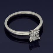 Platinum 0.97ct Certificated Asscher Cut Diamond Solitaire Engagement Ring