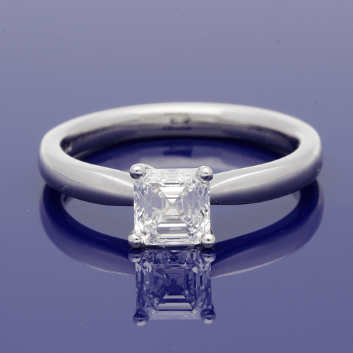 Platinum Asscher Cut Diamond Solitaire