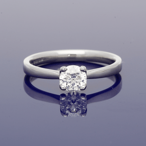 Platinum & Round Brilliant Cut Diamond Solitaire Ring