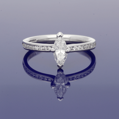 Platinum Certificated 0.54ct Marquise Cut Diamond Solitaire Ring with Diamond Set Shoulders