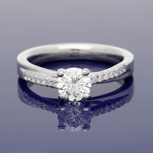 Platinum Solitaire Ring with Diamond Set Shoulders