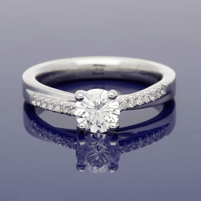Platinum Certificated 0.73ct Diamond Solitaire Ring with Diamond Set Shoulders
