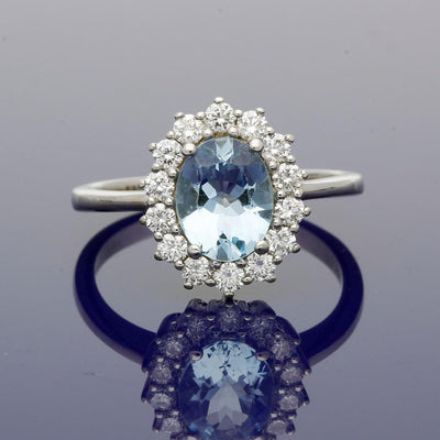 18ct White Gold Aquamarine & Diamond Oval Cluster Ring