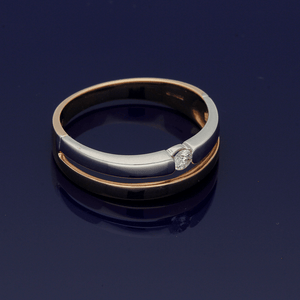9ct White Gold & Rose Gold Two Row Diamond Set Ring