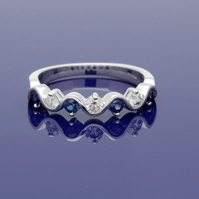 White Gold Sapphire and Diamond Half Eternity Ring